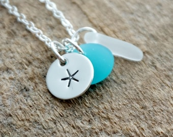 Sterling Silver Starfish with Light Blue and Clear Sea Glass Pendant