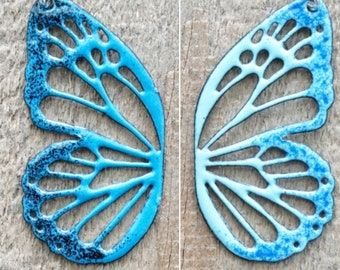 Reversible Enamel Butterfly Necklace, Cobalt/Light Blue and Teal/Black