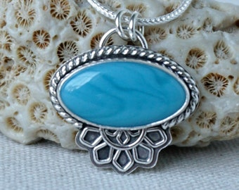 Turquoise Blue Rosarita Oval Pendant