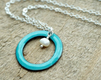Teal Green Enamel Circle with Pearl Necklace