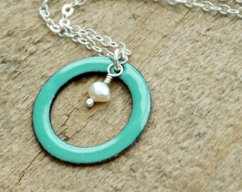 Mint Green Enamel Circle with Pearl Necklace