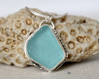 Teal Blue Green Sea Glass Pendant