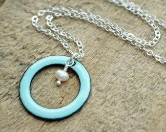 Robin's Egg Blue Enamel Circle with Pearl Necklace