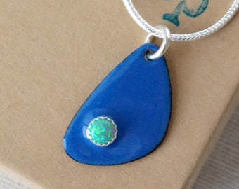 CLEARANCE Green Aura Opal on Cobalt Blue Enamel Pendant