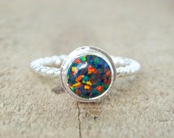 Black Aura Opal Stacking Ring, Size 7 1/4