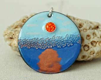 Sunrise - Orange Aura Opal on Blue Enamel Pendant