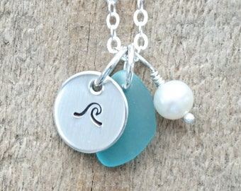 Sterling Silver Wave with Aqua Blue Sea Glass and Pearl Pendant