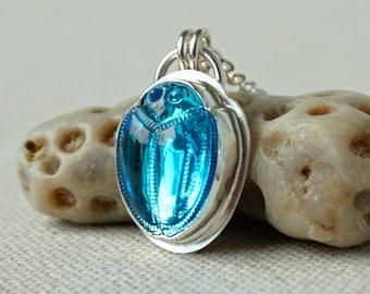 Aqua Blue Scarab Beetle Pendant