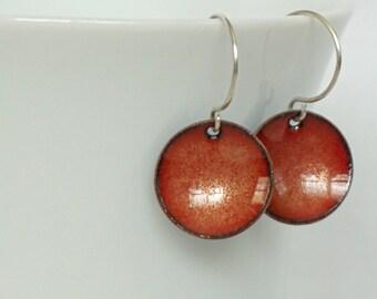 Bronze Enamel Disc Earrings