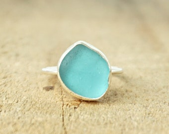Teal Blue Green Sea Glass Stacking Ring, Size 7 1/2