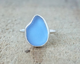Cornflower Blue Sea Glass Stacking Ring, Size 7 1/4