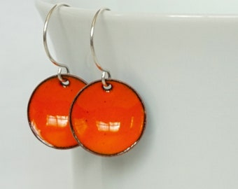 Tangerine Orange Enamel Earrings
