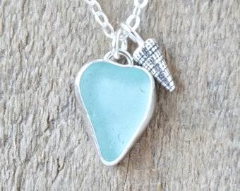 Soft Aqua Blue Sea Glass and Silver Shell Pendant