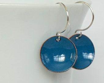 Peacock Teal Blue Enamel Earrings