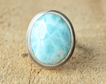 Larimar Oval Statement Ring, Size 7 1/2