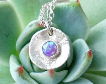 Purple Aura Opal on Fine Silver Pendant