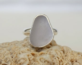 Light Lavender Sea Glass Ring, Size 7