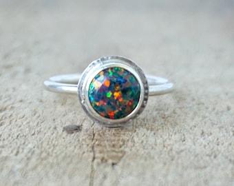 Black Aura Opal Stacking Ring, Size 7 3/4