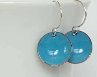 Teal Blue Enamel Earrings