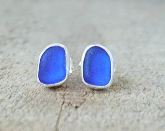 Cobalt Blue Sea Glass Stud Earrings