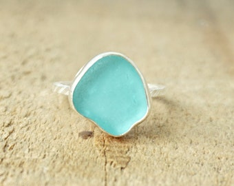 Teal Blue Green Sea Glass Stacking Ring, Size 9