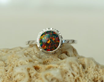 Black Aura Opal Stacking Ring, Size 7 1/2