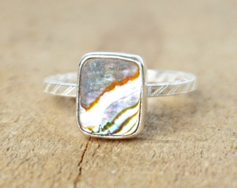Abalone Shell Stacking Ring, Size 8