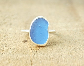 Cornflower Blue Sea Glass Stacking Ring, Size 6