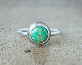 Green Aura Opal Stacking Ring, Size 6 3/4