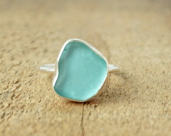 Teal Blue Green Sea Glass Stacking Ring, Size 7 3/4
