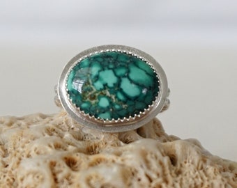 Tibetan Turquoise Oval Statement Ring, Size 7