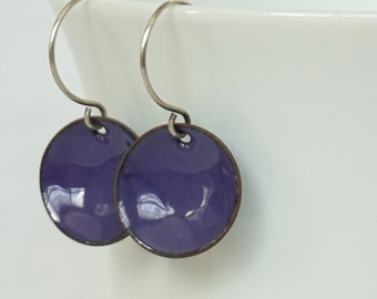 Purple Enamel Disc Earrings
