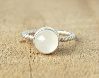 Rainbow Moonstone Stacking Ring, Size 8