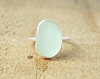Soft Aqua Blue Sea Glass Stacking Ring, Size 7 3/4