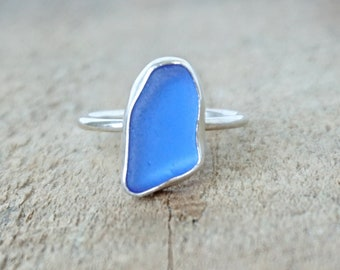 Cobalt Blue Sea Glass Stacking Ring, Size 9