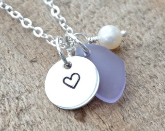 Sterling Silver Heart with Lavender Sea Glass and Pearl Pendant