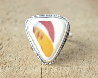 Maroon/Red and Orange Sea Pottery Ring, Size 7 1/4