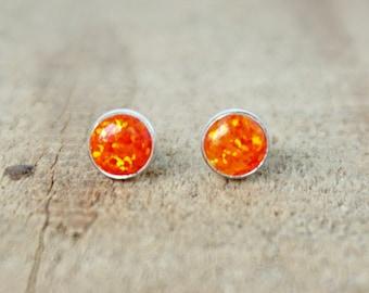 Tangerine Orange Aura Opal Stud Earrings, 6mm
