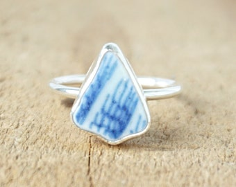 Blue and White Sea Pottery Stacking Ring, Size 7 1/4