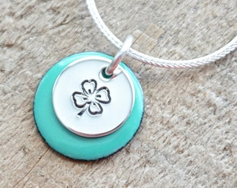 Hand Stamped Sterling Silver Shamrock on Enamel Pendant - Choose Your Color