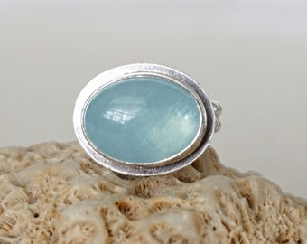 Aquamarine Oval Statement Ring, Size 6
