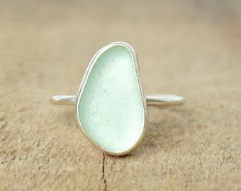 Seafoam Green Sea Glass Stacking Ring, Size 10 1/4
