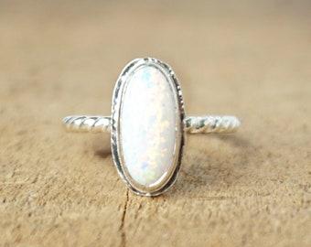 White Aura Opal Stacking Ring, Size 6 1/4