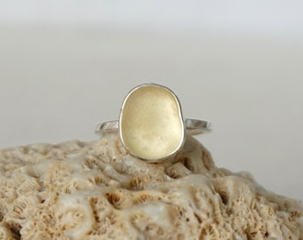 Yellow Sea Glass Stacking Ring, Size 6 1/2