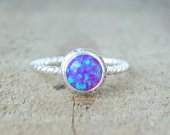 Violet Purple Aura Opal Stacking Ring, Size 9 1/4