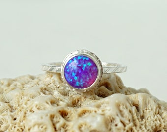 Violet Purple Aura Opal Stacking Ring, Size 8