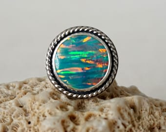 Seafoam Green Aura Opal Statement Ring, Size 8