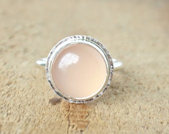 Pink Chalcedony Statement Ring, Size 7