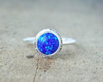 Cobalt Blue Aura Opal Stacking Ring, Size 7 1/4