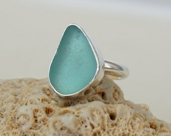 Teal Blue Green Sea Glass Ring, Size 7 3/4